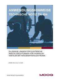 anwendungshinweise technische notiz tn 494 - Moog