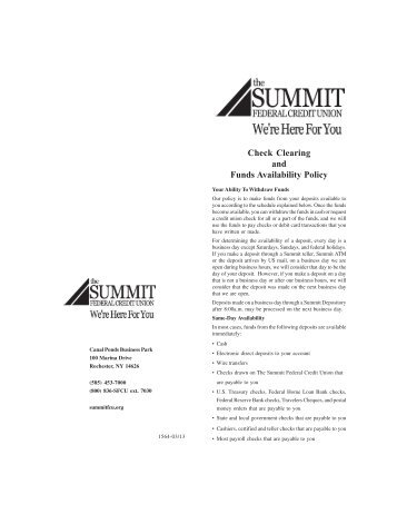 Check Clearing and Funds Availability Policy - The Summit Federal ...