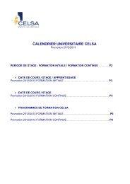 Calendrier des stages détaillé - Celsa
