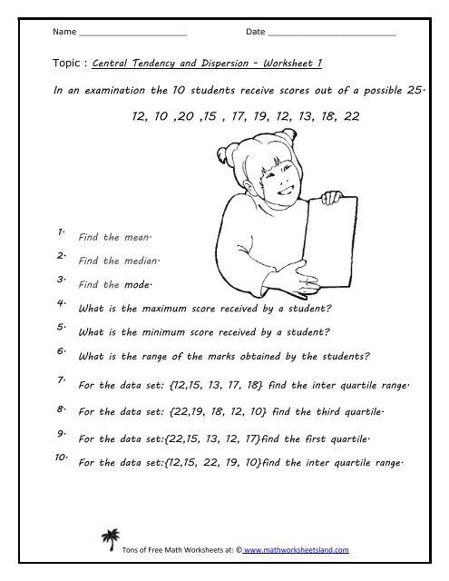Central Tendency And Dispersion Five Pack - Math Worksheets Land