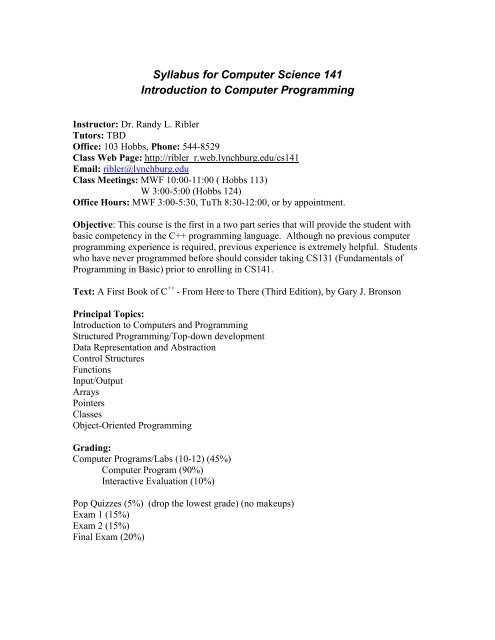 Syllabus for Computer Science 141 Introduction     - Dr