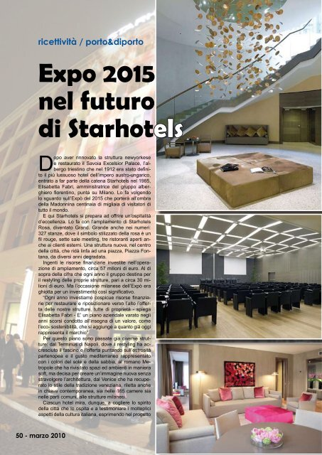 Expo 2015 nel futuro di Starhotels - Porto & diporto