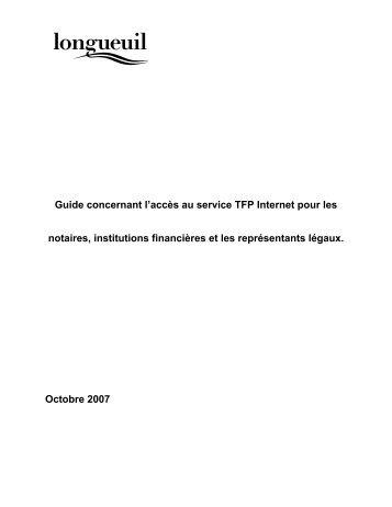 Guide concernant l'accès au service TFP ... - Ville de Longueuil