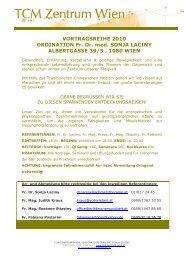 5 Elemente Vortragsreihe 2010 - Dr. med. Sonja Laciny