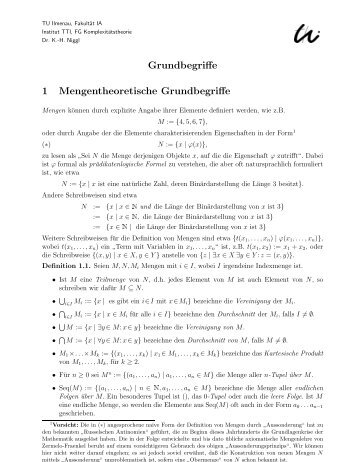 Grundbegriffe 1 Mengentheoretische Grundbegriffe