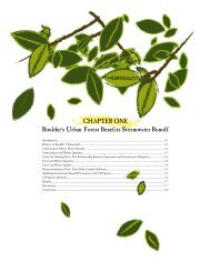 CHAPTER ONE Boulder's Urban Forest Benefits Stormwater Runoff