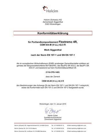 Konformitätserklärung - Holcim Schweiz