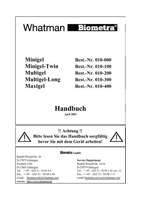 010-000 bis 400 Handbuch-Rev.02 - Biometra