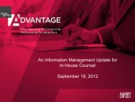 An Information Management Update for In-House ... - Hicks Morley
