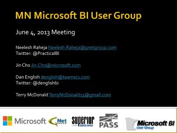 BI User Group Updates and Announcements