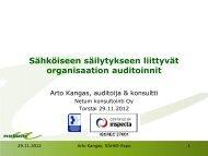 Sähköiseen säilyttämiseen liittyvät organisaation auditoinnit