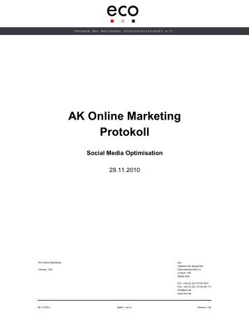 AK Online Marketing Protokoll Social Media Optimisation