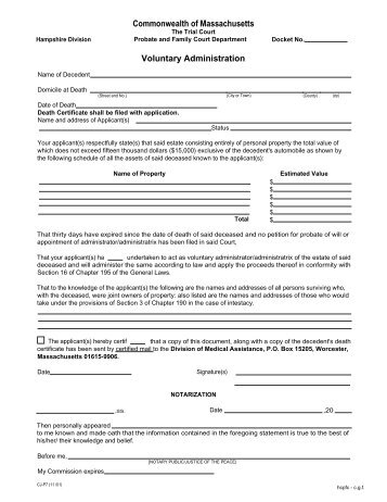 Sample Separation Agreement Hampshire County Probate And