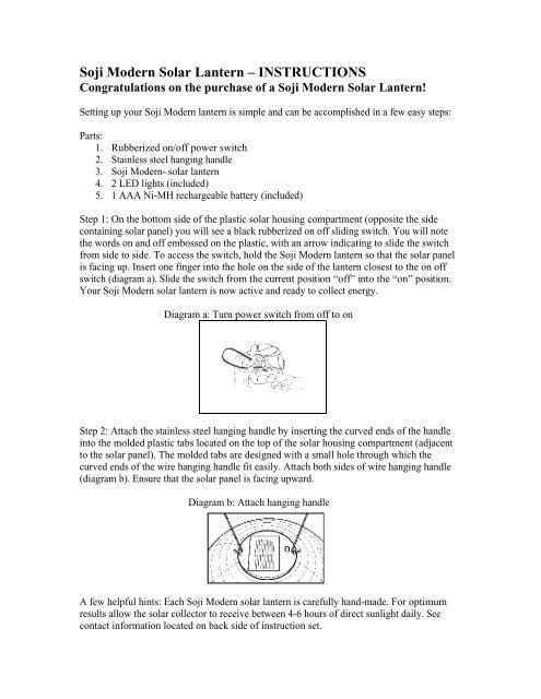 Soji Modern Solar Lantern Instructions