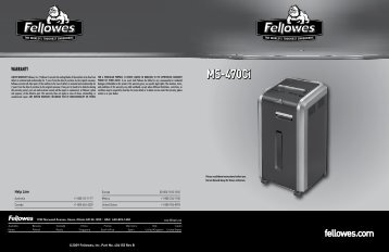 Fellowes Powershred Micro Cut Shredder MS-470Ci Manual