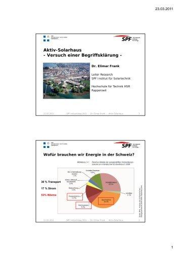 Aktiv-Solarhaus - Institut für Solartechnik