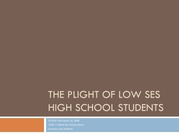 The Plight of Low SES High School Students - AACRAO