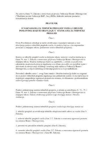 Pravilnik o naknadama za tehnicki pregled vozila i drugih ï