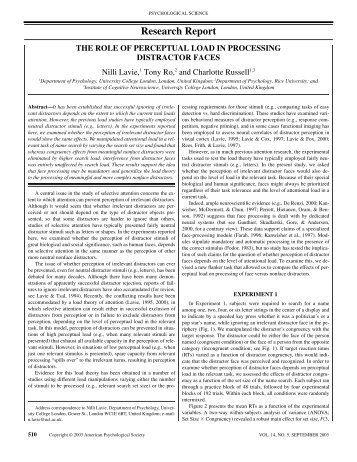 Research Report - UCL Division of Psychology and Language ...
