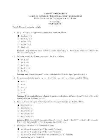 Prova scritta del 4 marzo 2013, testo e soluzioni
