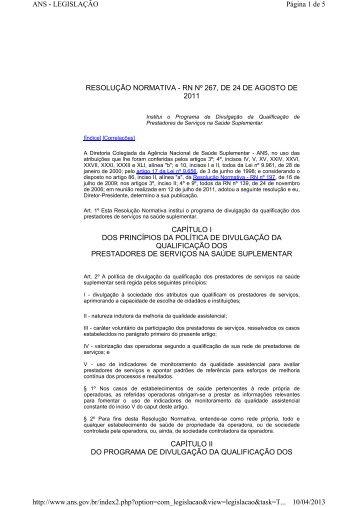 RESOLUÇÃO NORMATIVA - RN Nº 267, DE 24 DE AGOSTO DE ...