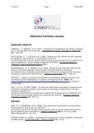 Sélection d'articles récents - CNRD