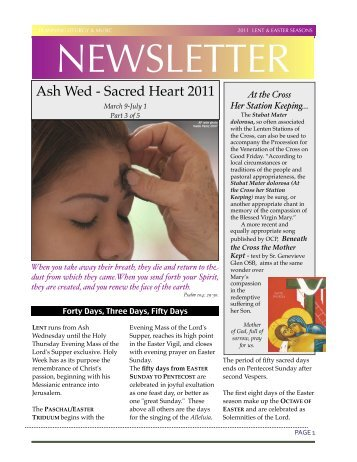 Liturgy & Music Newsletter Lent to Pentecost 11 - Diocese of ...