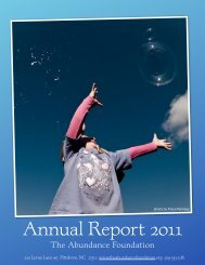 Annual Report 2011 - The Abundance Foundation