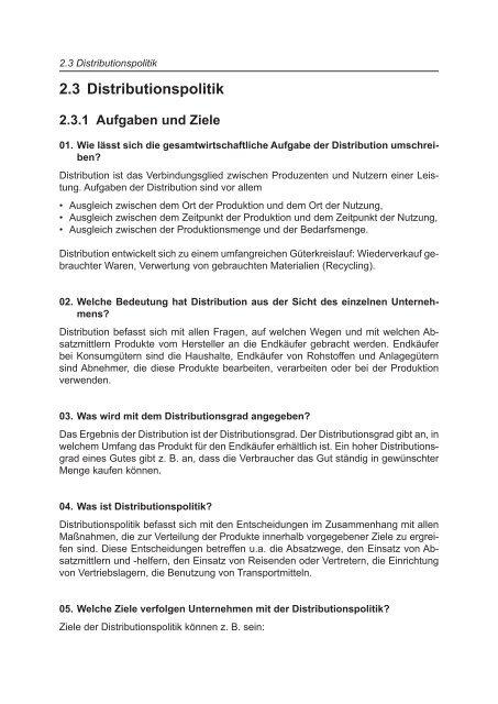 2.3 Distributionspolitik