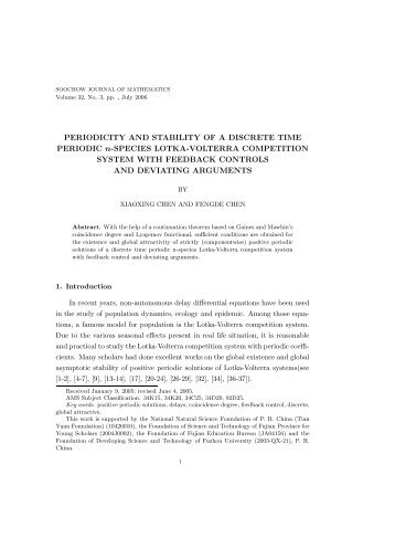 PERIODICITY AND STABILITY OF A DISCRETE TIME PERIODIC n ...