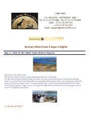 Itinerary West Coast 5 days/ 4 Nights - Cape Prestige Tours & Safaris