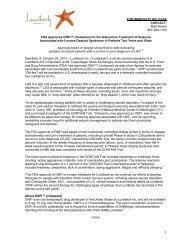 FDA Approves ONFI™ (clobazam) - Lundbeck
