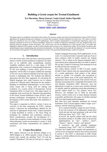 Building a Greek corpus for Textual Entailment