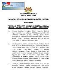 Kenyataan Media KP Jakim bekernaan FPEI - Jabatan Kemajuan ...