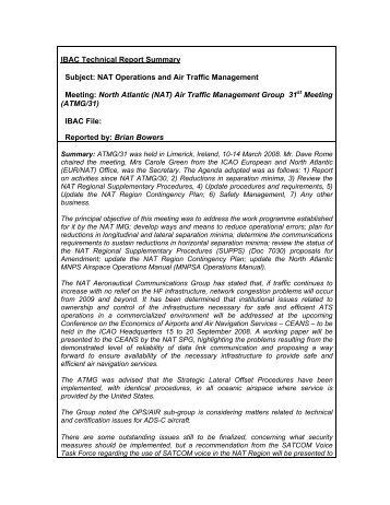 IBAC Technical Report Summary Subject: NAT Operations and Air ...