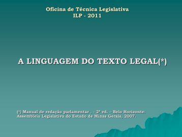 A Linguagem do Texto Legal Manual de redação parlamentar