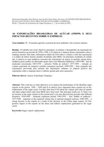 AS EXPORTAÇÕES BRASILEIRAS DE AÇÚCAR (1950/99) E SEUS ...