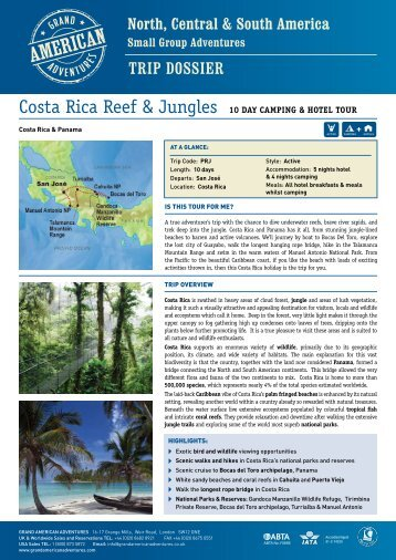 Costa Rica Reef & Jungles - Adventure holidays