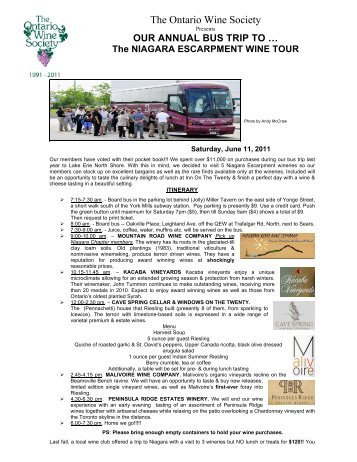Annual Bus Trip to Niagara Escarpment Wine Tour - Ontario Wine ...