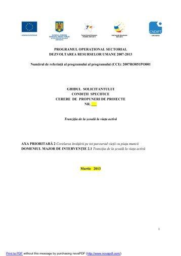 PROGRAMUL OPERAȚIONAL SECTORIAL DEZVOLTAREA ...