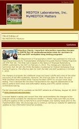 MEDTOX Laboratories, Inc. MyMEDTOX Matters