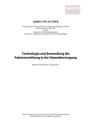 Technologie und Anwendung der ... - Stiftung HAMFU