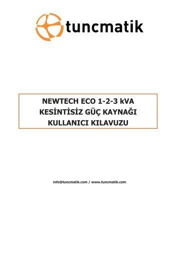 Newtech Eco 1-2-3kVA Kullanım Kılavuzu - Tuncmatik