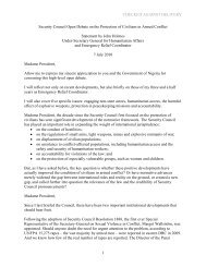 USG's statement on the Protection of Civilians, 7 July - OCHANet