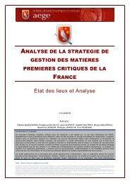 Analyse de la stratégie de gestion des matières premières critiques ...