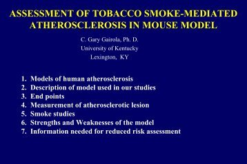Assessment of Tobacco Smoke-Mediated Atherosclerosis in Mouse ...