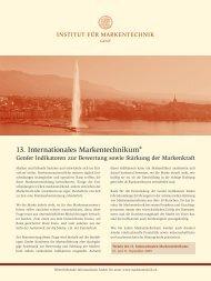 13. Internationales Markentechnikum® - Institut für Markentechnik SA