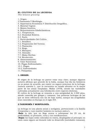 1 EL CULTIVO DE LA LECHUGA The letucce growing 1. Origen. 2 ...