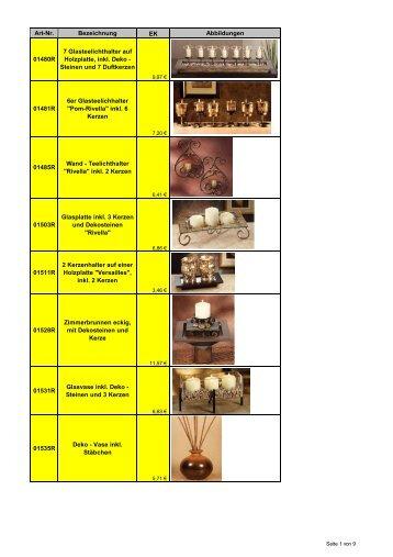 Art-Nr. Bezeichnung EK Abbildungen 01480R 7 Glasteelichthalter ...