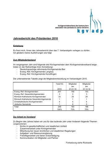 Jahresbericht 2010 - beim Kirchgemeindeverband des Kantons Bern